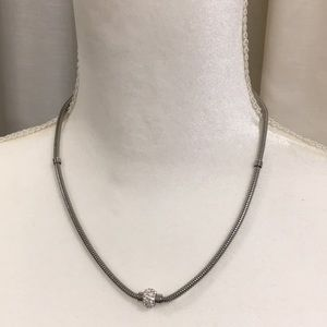 Jewelry - STAINLESS STEEL NECKLACE WITH CRYSTAL PENDANT NWOT